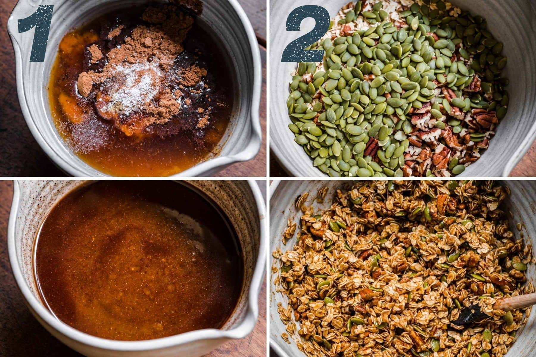 On the left: stirring spices into liquid ingredients. On the right: stirring oats and pumpkin seeds into spice and liquid mixture.