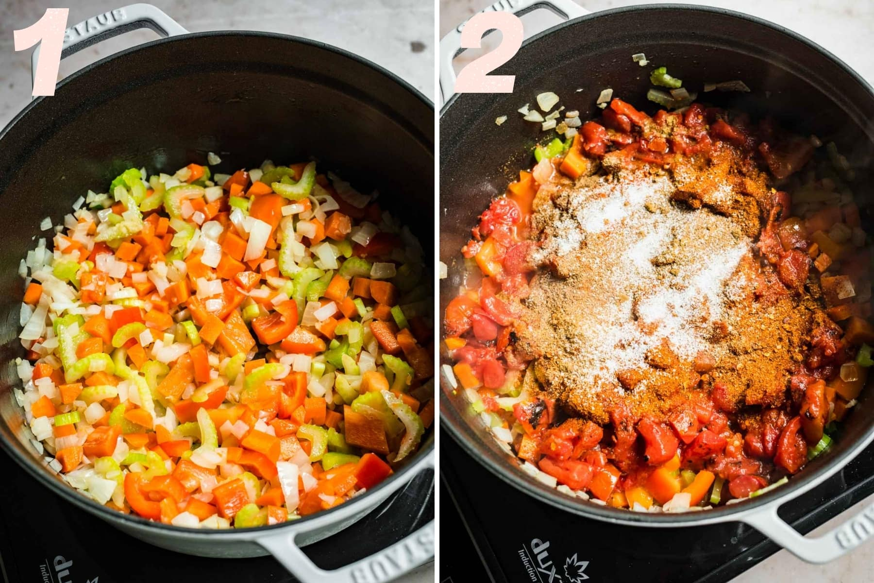 on the left: sauteed vegetables in soup pot. on the right: sauteed vegetables, tomatoes and spices in soup pot.