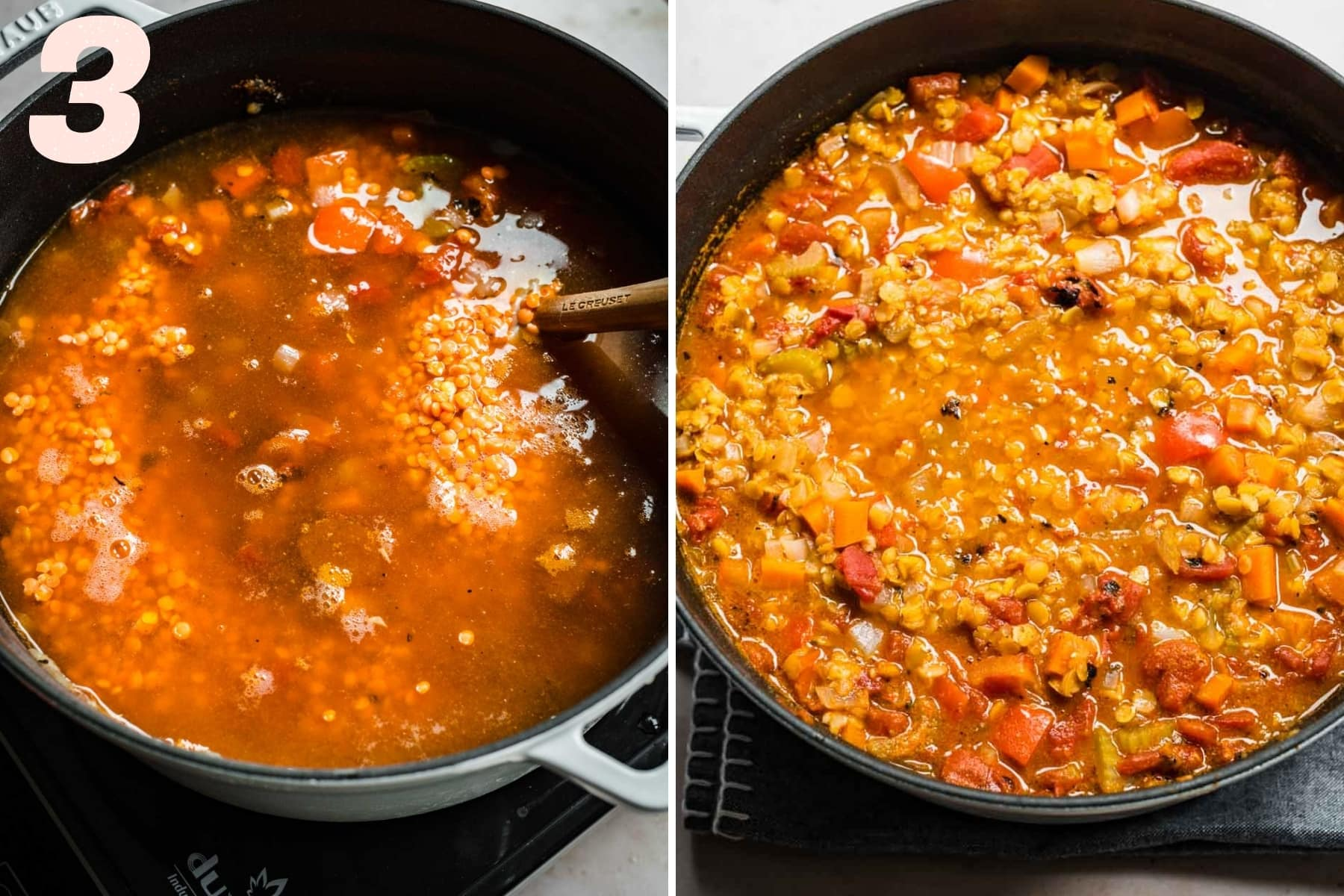 red lentil soup in large pot before and after cooking.