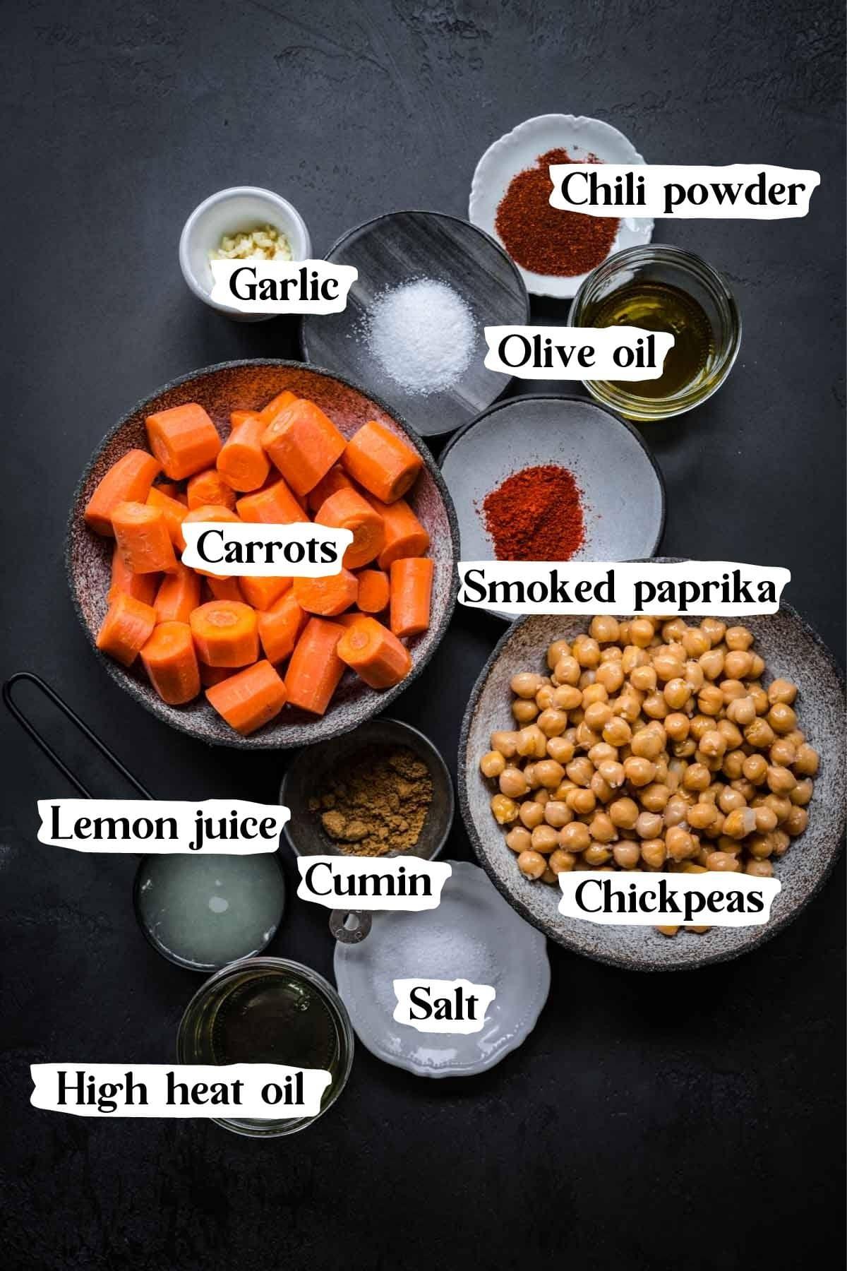 Overhead shot of carrot dip ingredients.