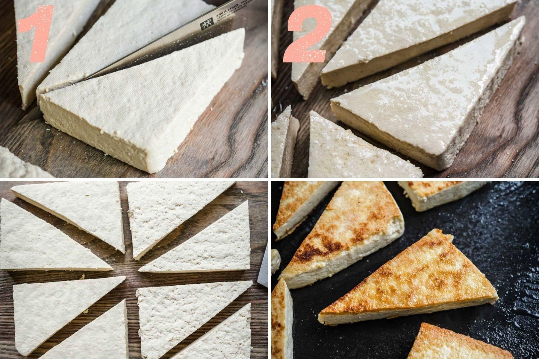 On the left: tofu being cut into triangles. On the right: tofu brushed with olive oil and crisped up.