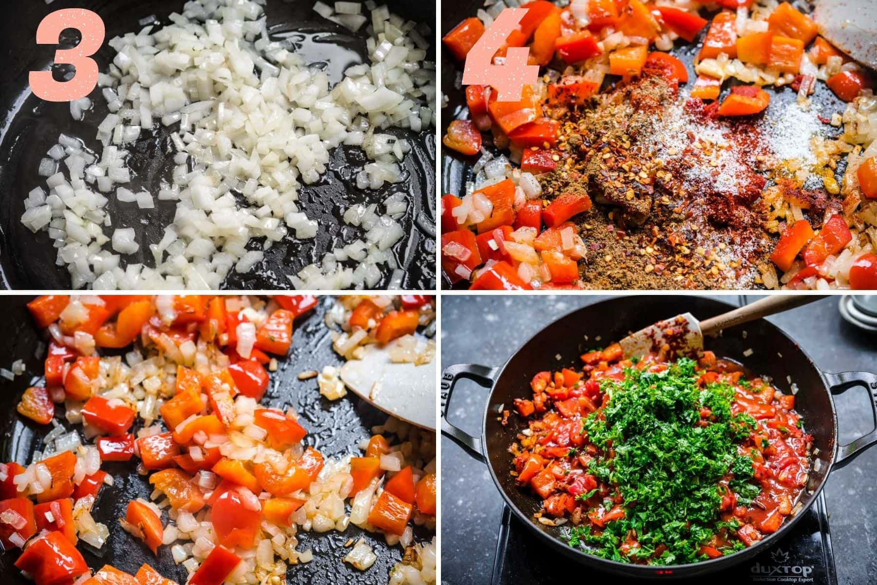 On the left: onions cooking in the skillet and then adding in bell pepper. On the right: spices, tomatoes, and parsley added to the skillet.