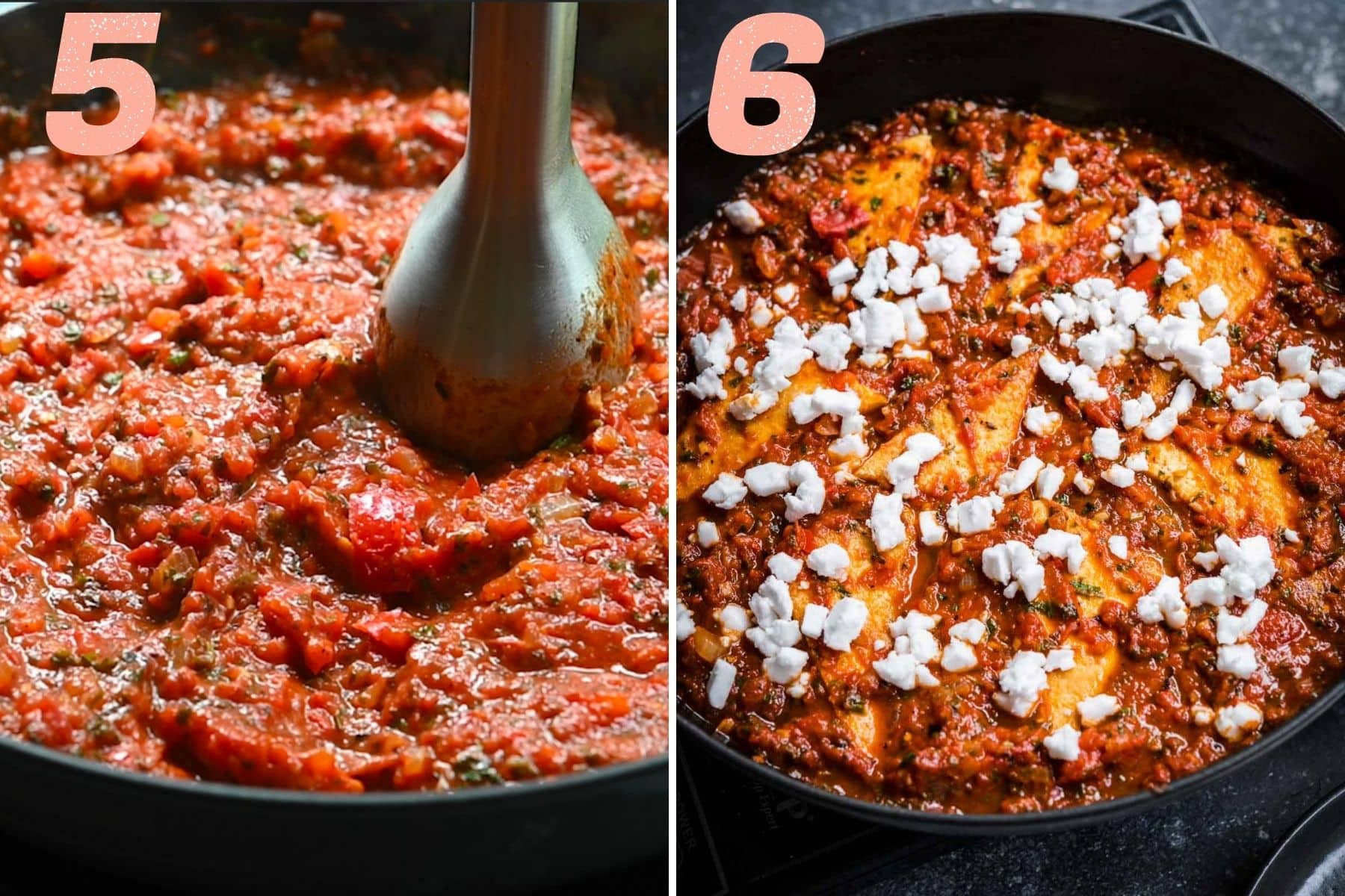 On the left: blending tomato sauce with an immersion blender. On the right: tofu shakshuka after coming out of the oven.