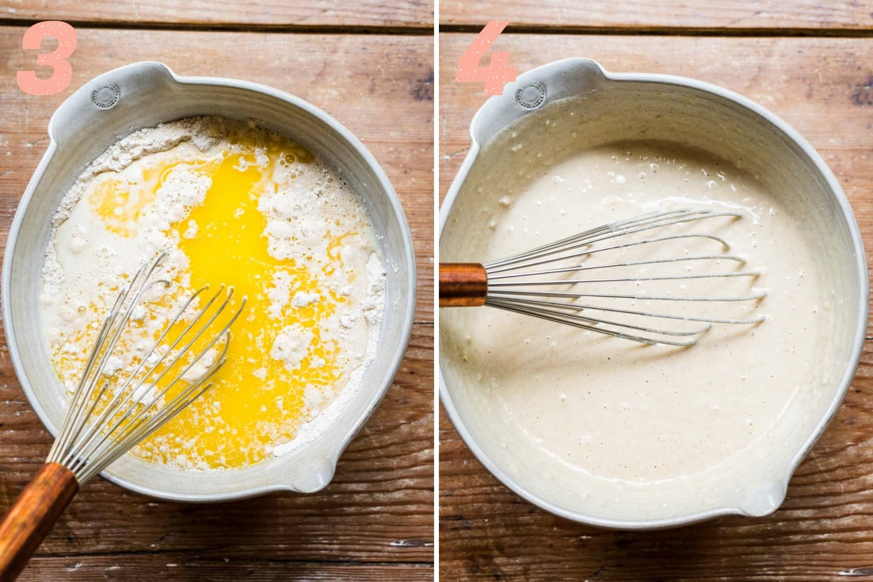 before and after mixing wet ingredients into dry ingredients for vegan waffle batter.