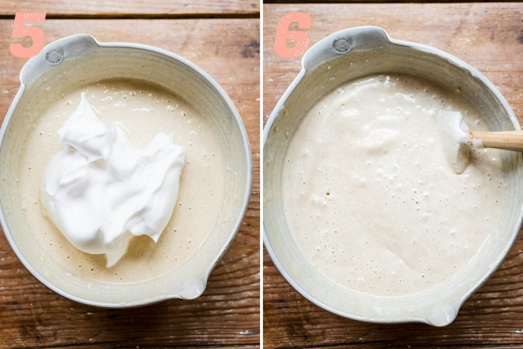 before and after folding aquafaba into vegan waffle batter.