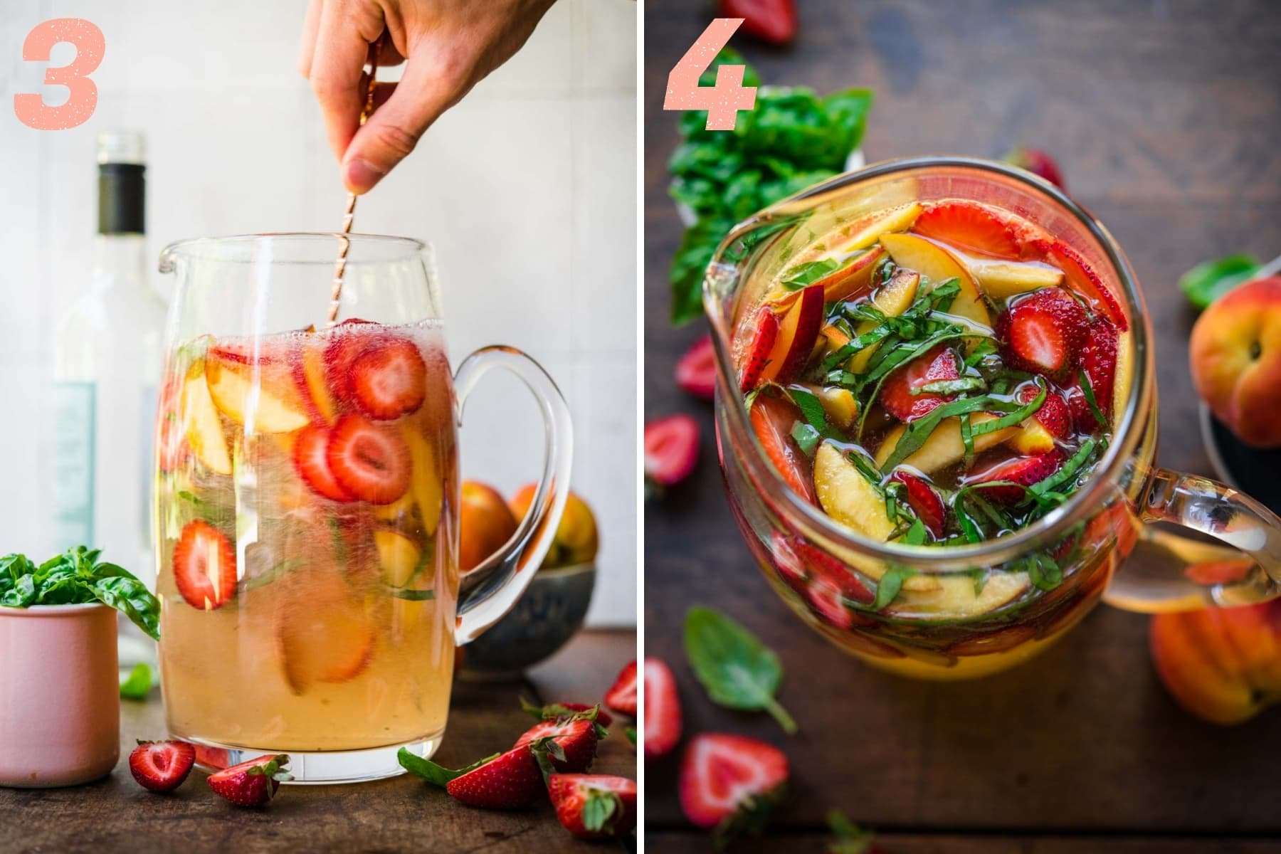 stirring strawberry peach sangria in a large pitcher.