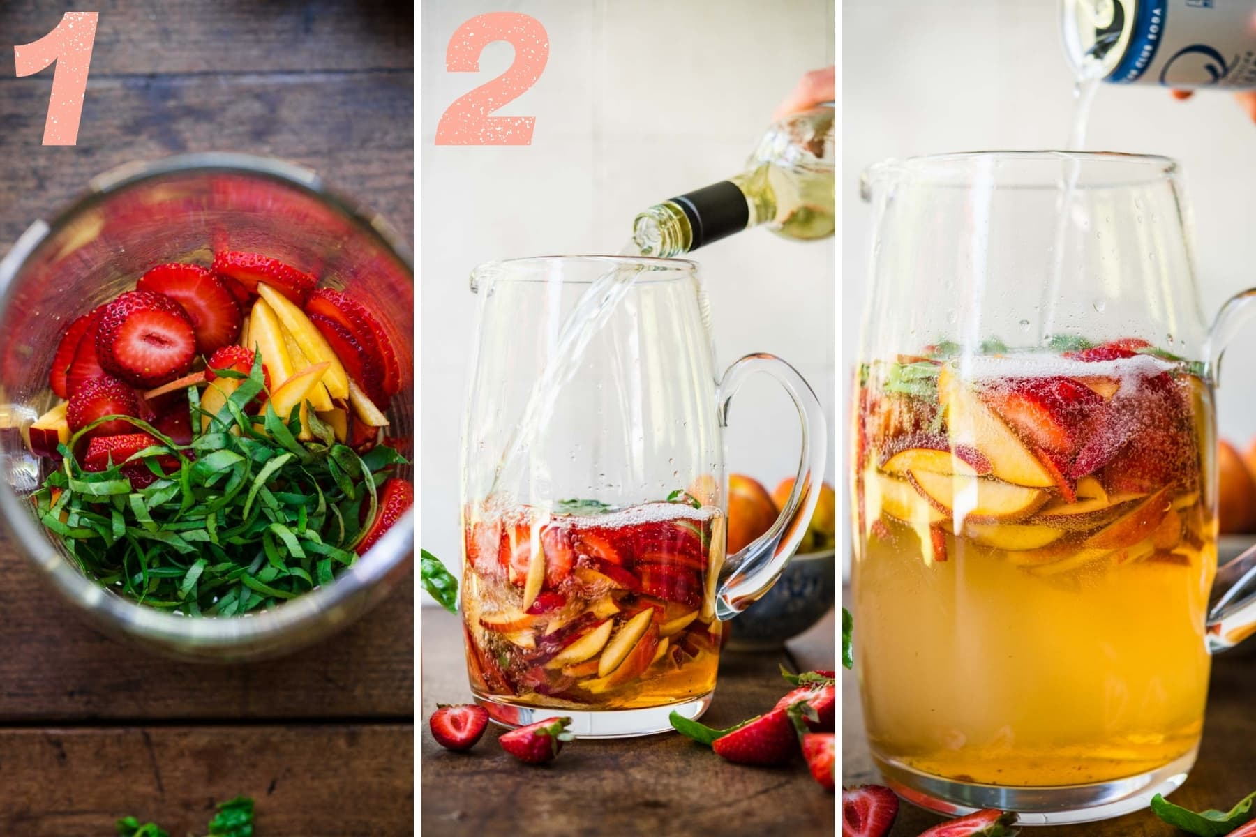pouring wine and club soda into pitcher with strawberries, peaches and basil.