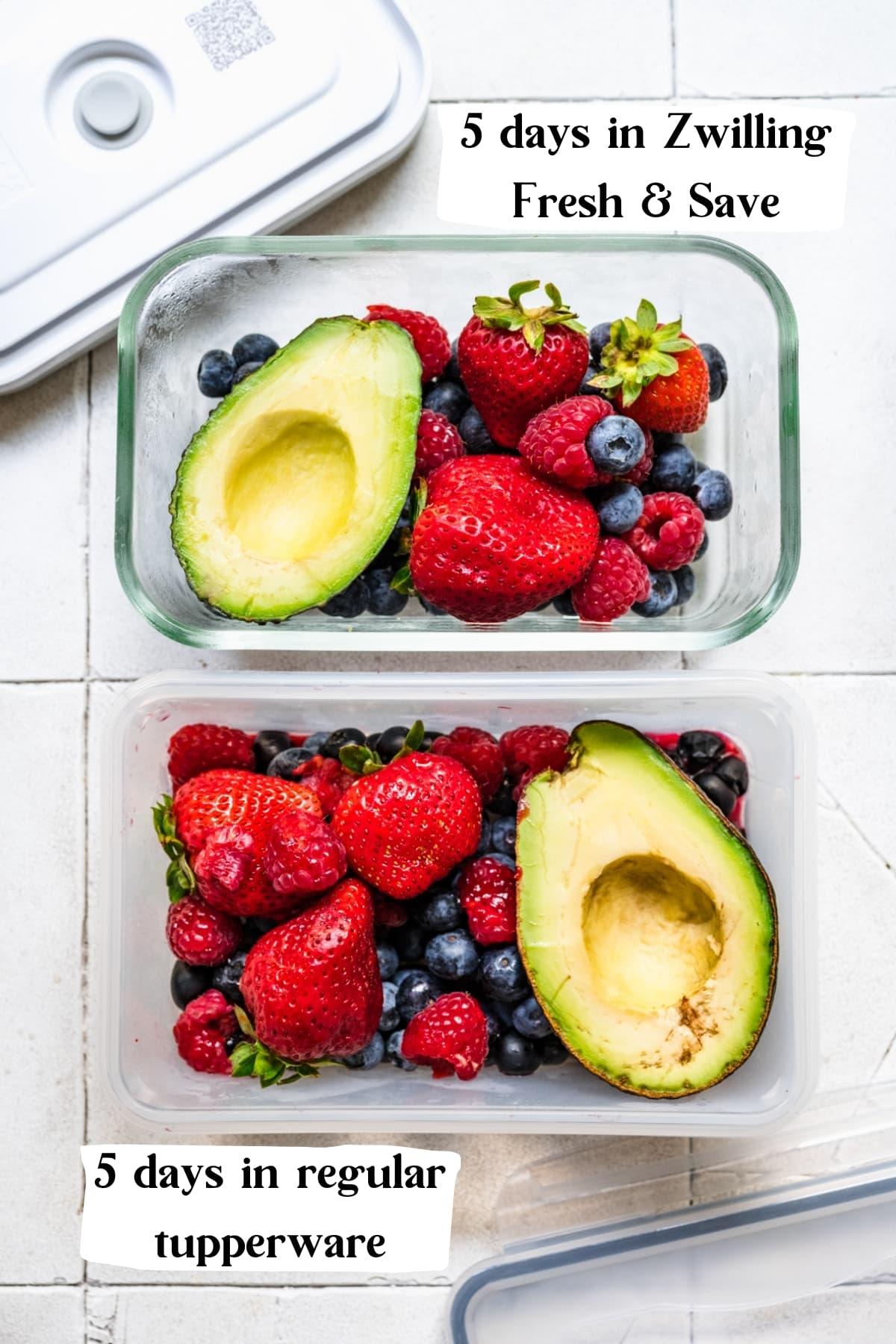 overhead view of berries and avocado in two different tupperware containers.
