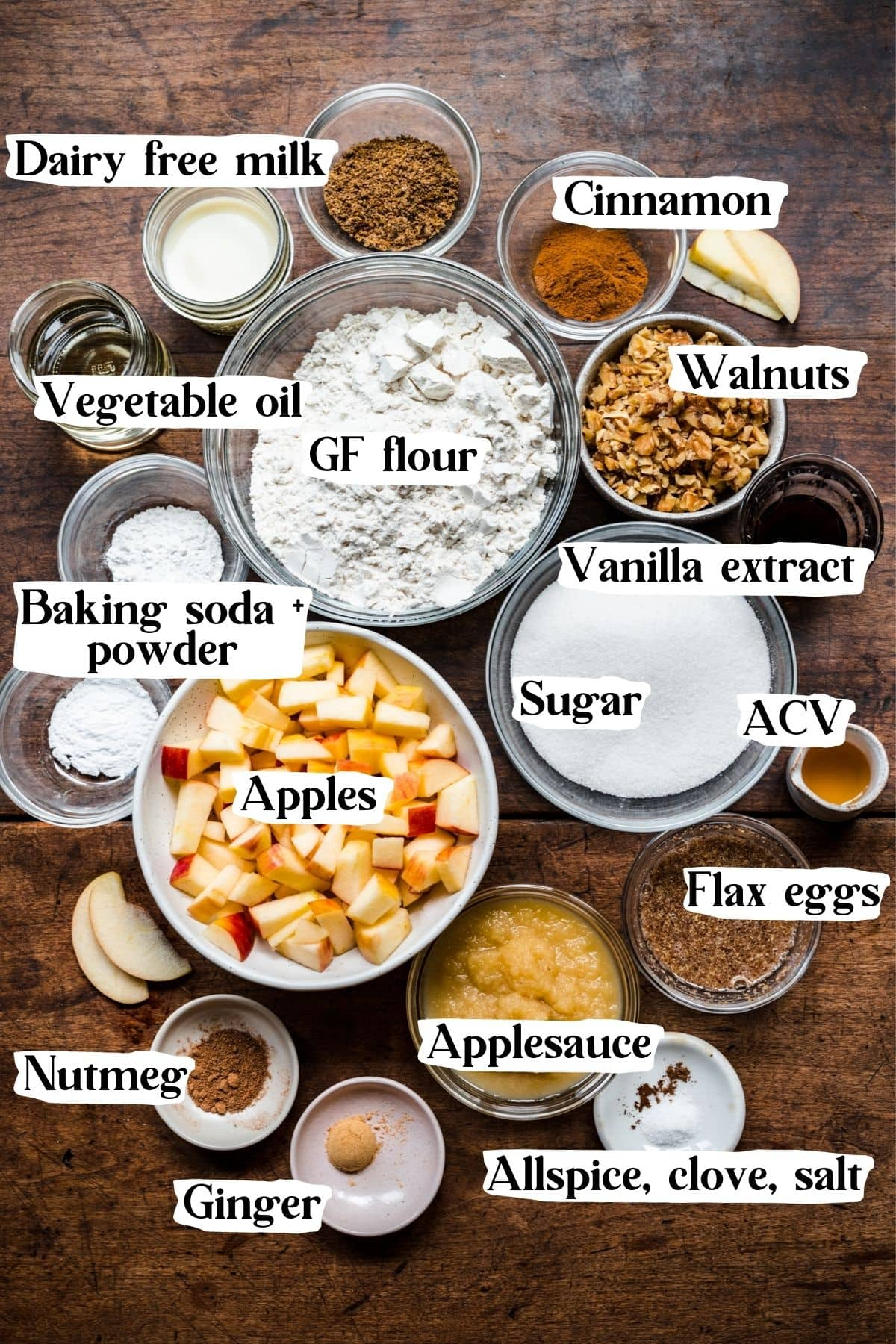 Overhead view of ingredients used in the apple walnut cake.