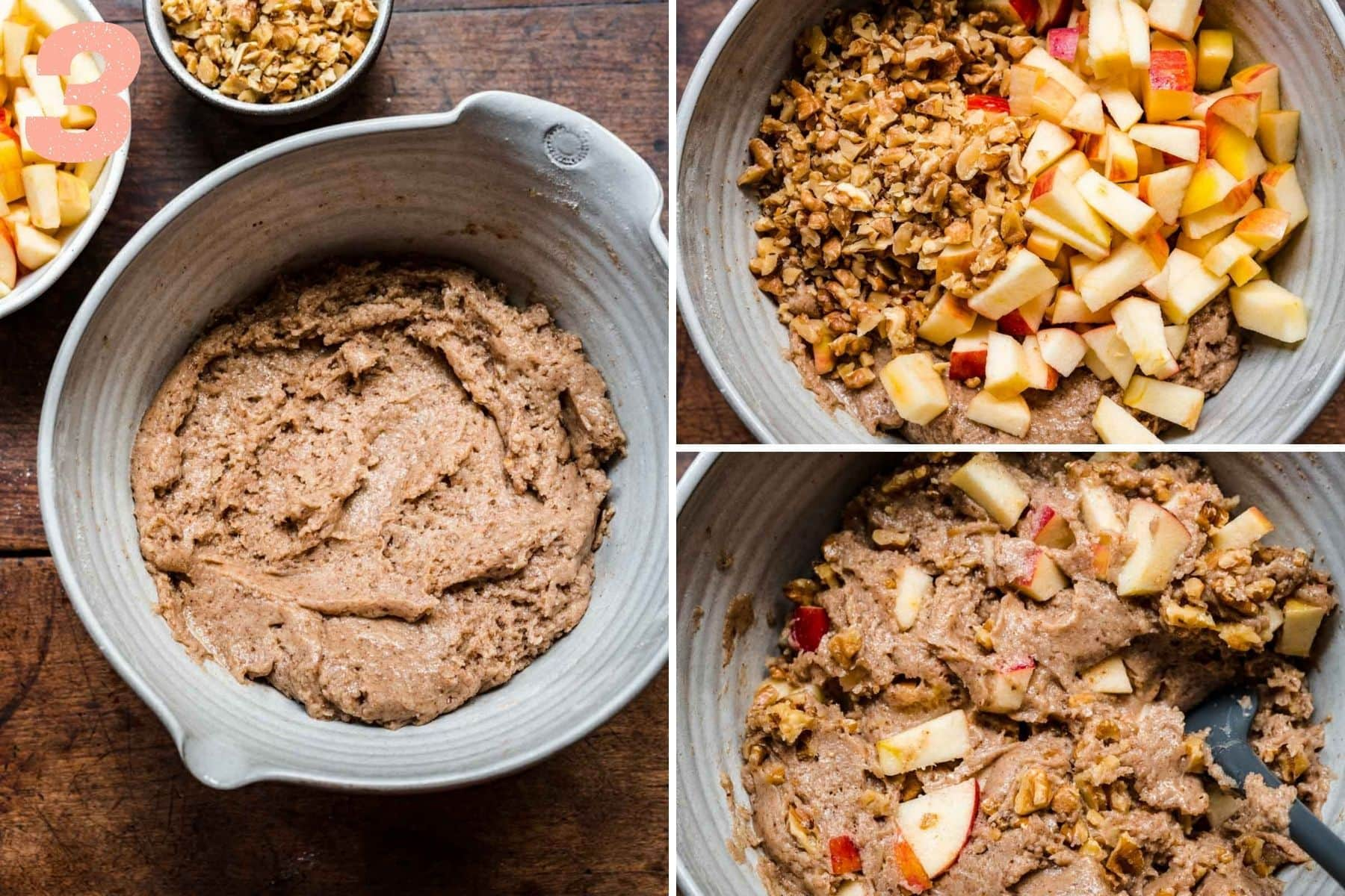 On the left: dry and wet ingredients mixed together. On the right: walnuts and apples being incorporated into the batter.