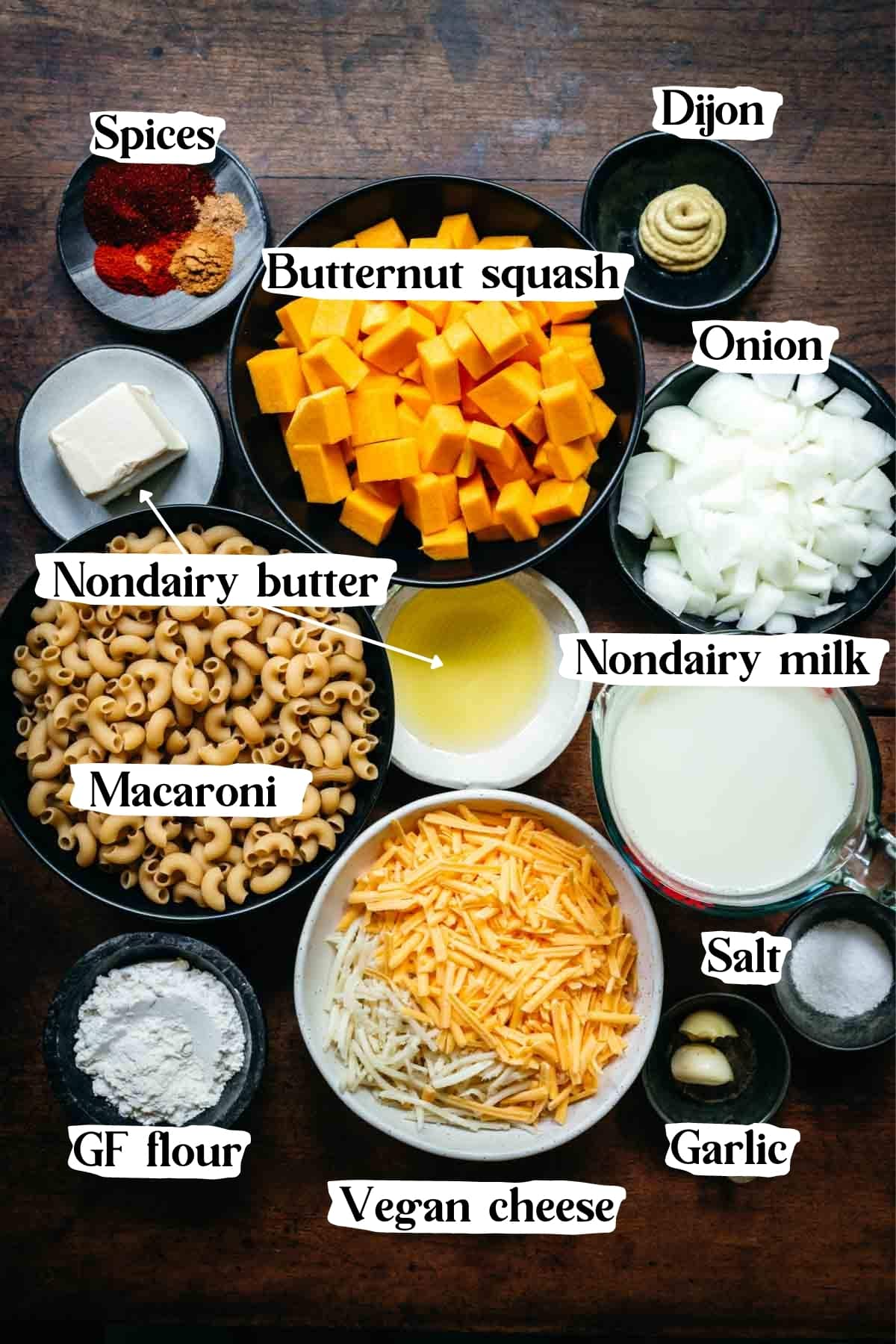 Overhead view of vegan butternut squash mac and cheese ingredients.