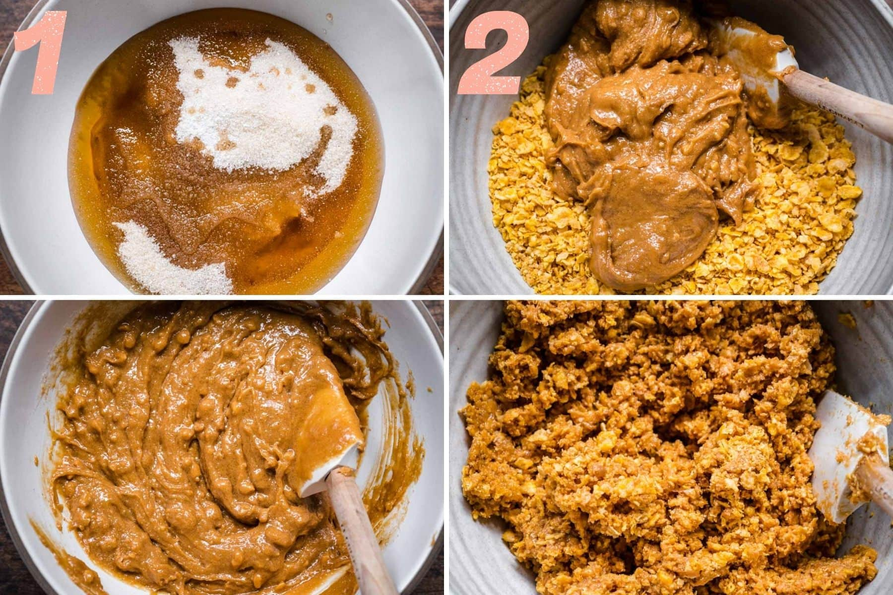 On the left: peanut butter stirred. On the right: cornflakes being stirred into peanut butter.