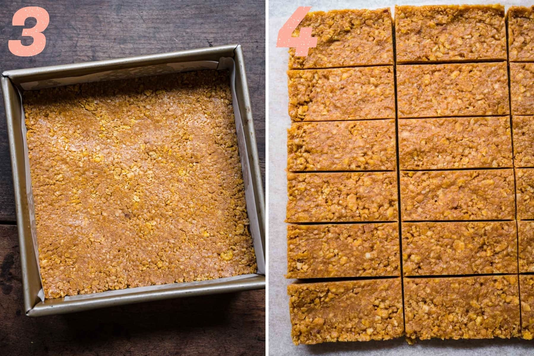 On the left: mixture flattened out into a sheet pan. On the right: mixture cut into rectangles.