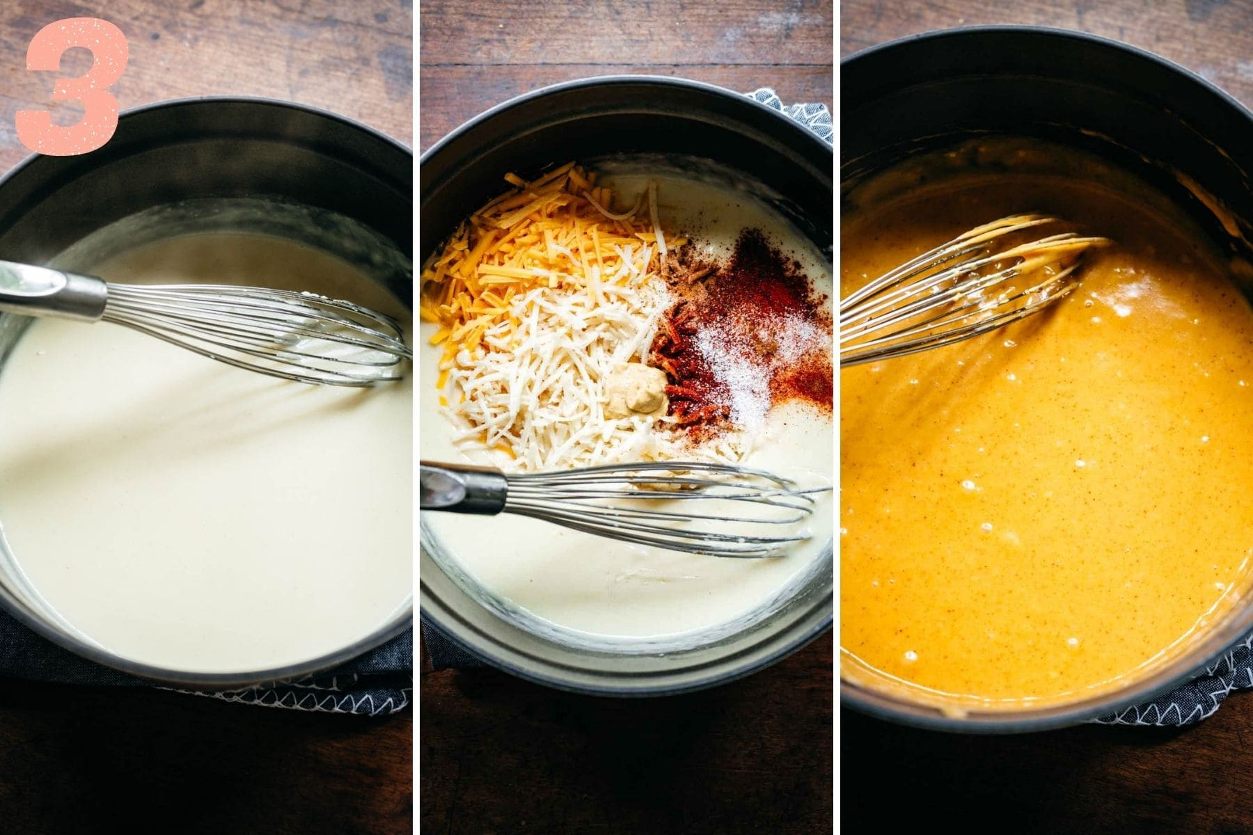 Three panel view of milk, then milk with spices, then milk with cheese melted in.