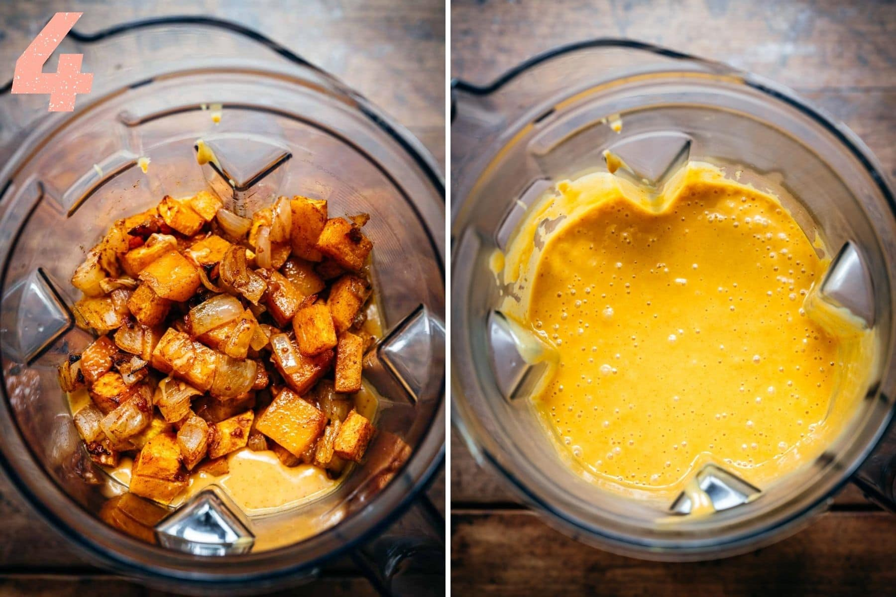 On the left: roasted butternut squash and onions in a blender. On the right: onions, squash, and sauce mixture after blending.