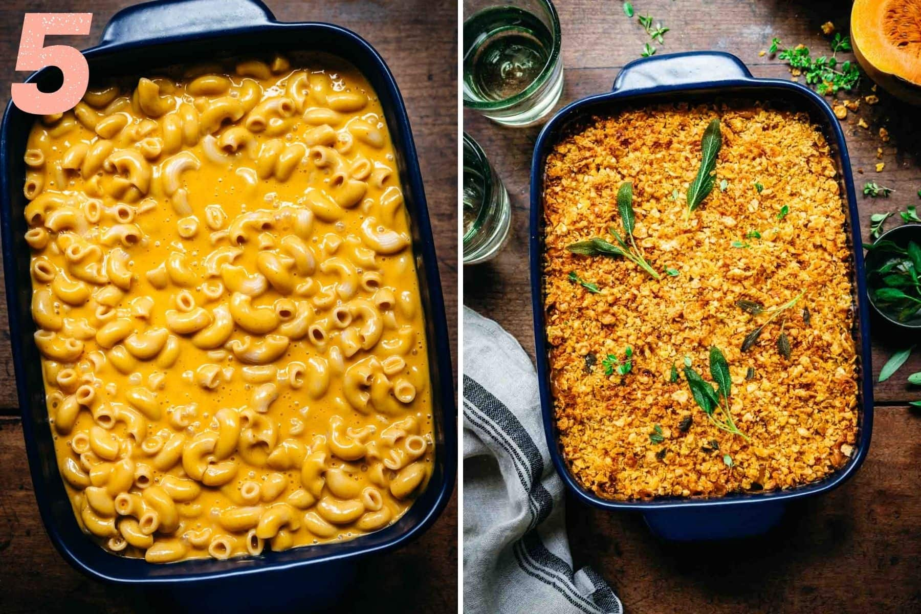 Overhead view of butternut squash mac and cheese before and after baking.