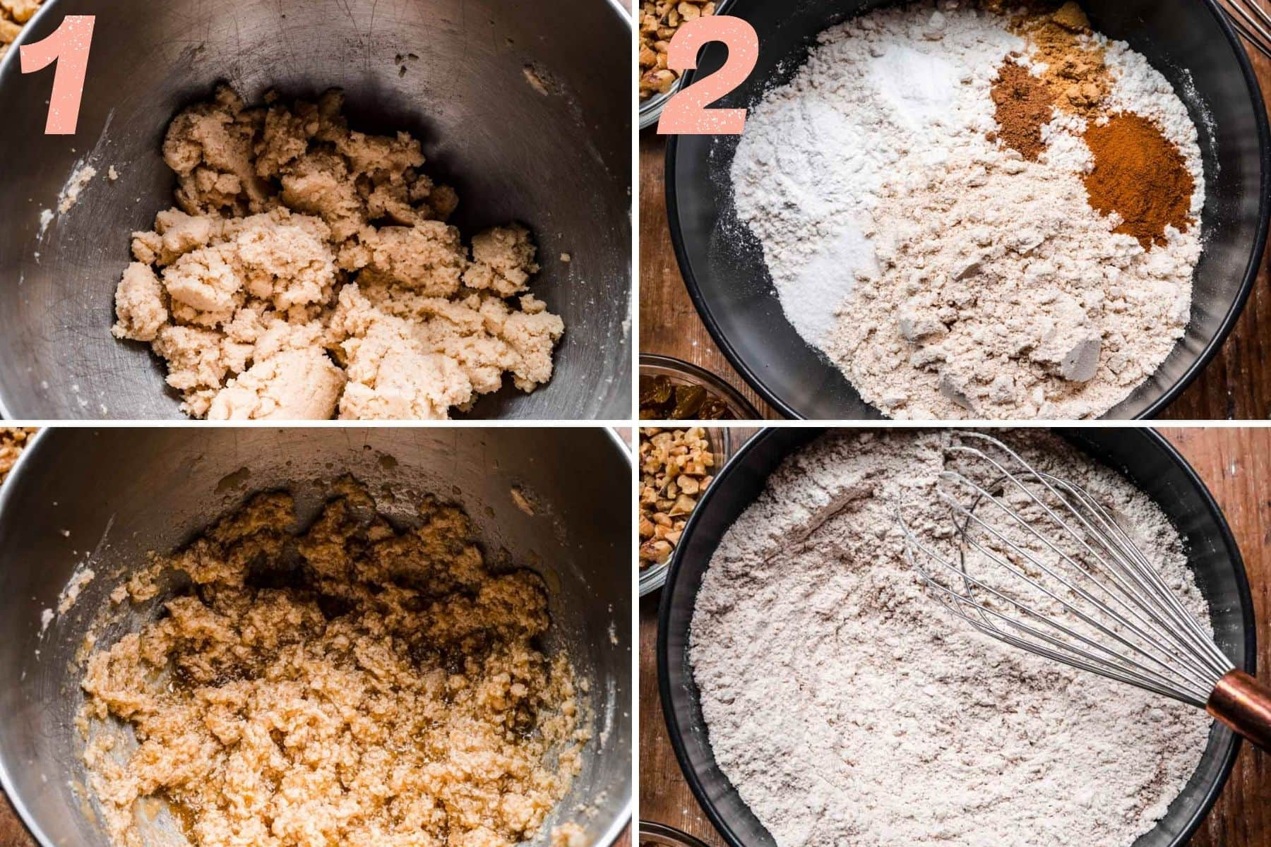 On the left: wet ingredients being mixed together. On the right: dry ingredients being mixed together.
