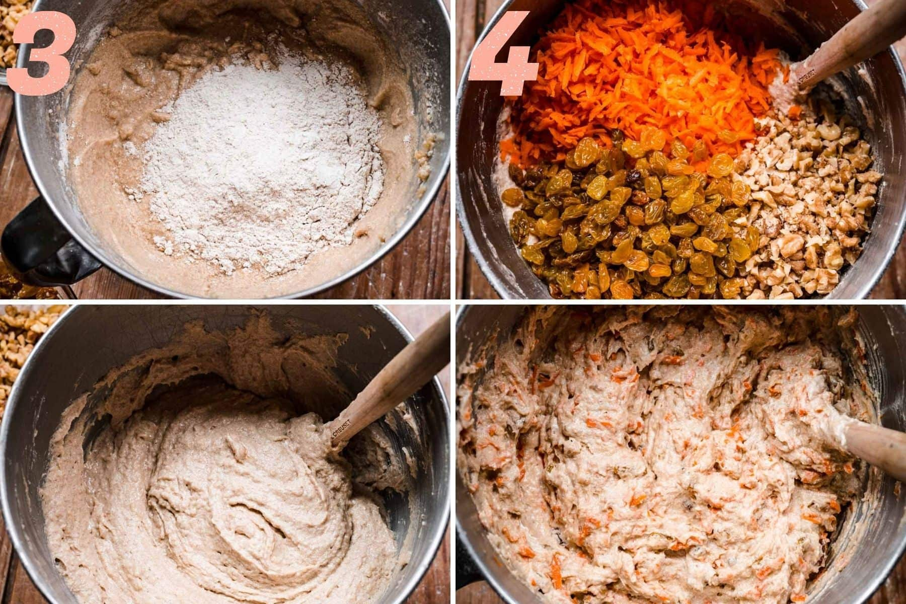 On the left: wet and dry ingredients being mixed together. On the right: carrots, walnuts, and raisins being mixed into batter.