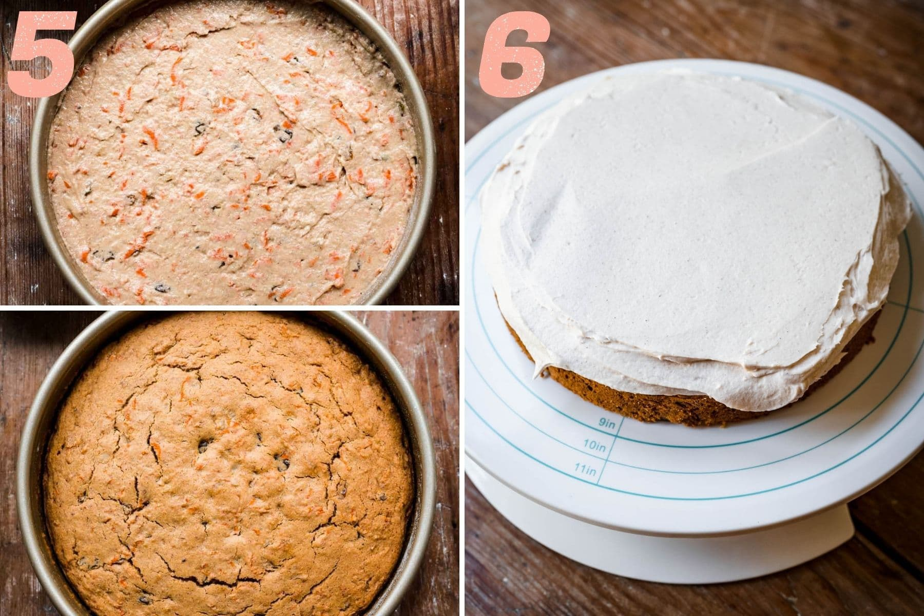 On the left: carrot cake before and after being baked. On the right: carrot cake being frosted.