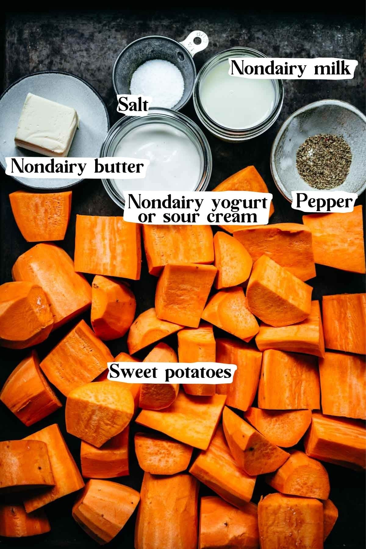 Overhead view of mashed sweet potato ingredients, including sweet potatoes and nondairy butter.