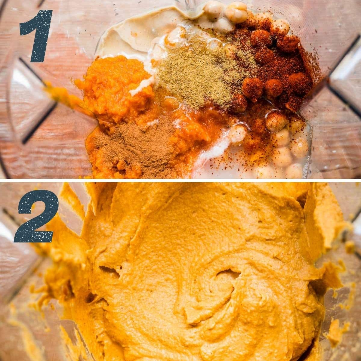 On the top: ingredients added to blender. On the bottom: ingredients after blending.