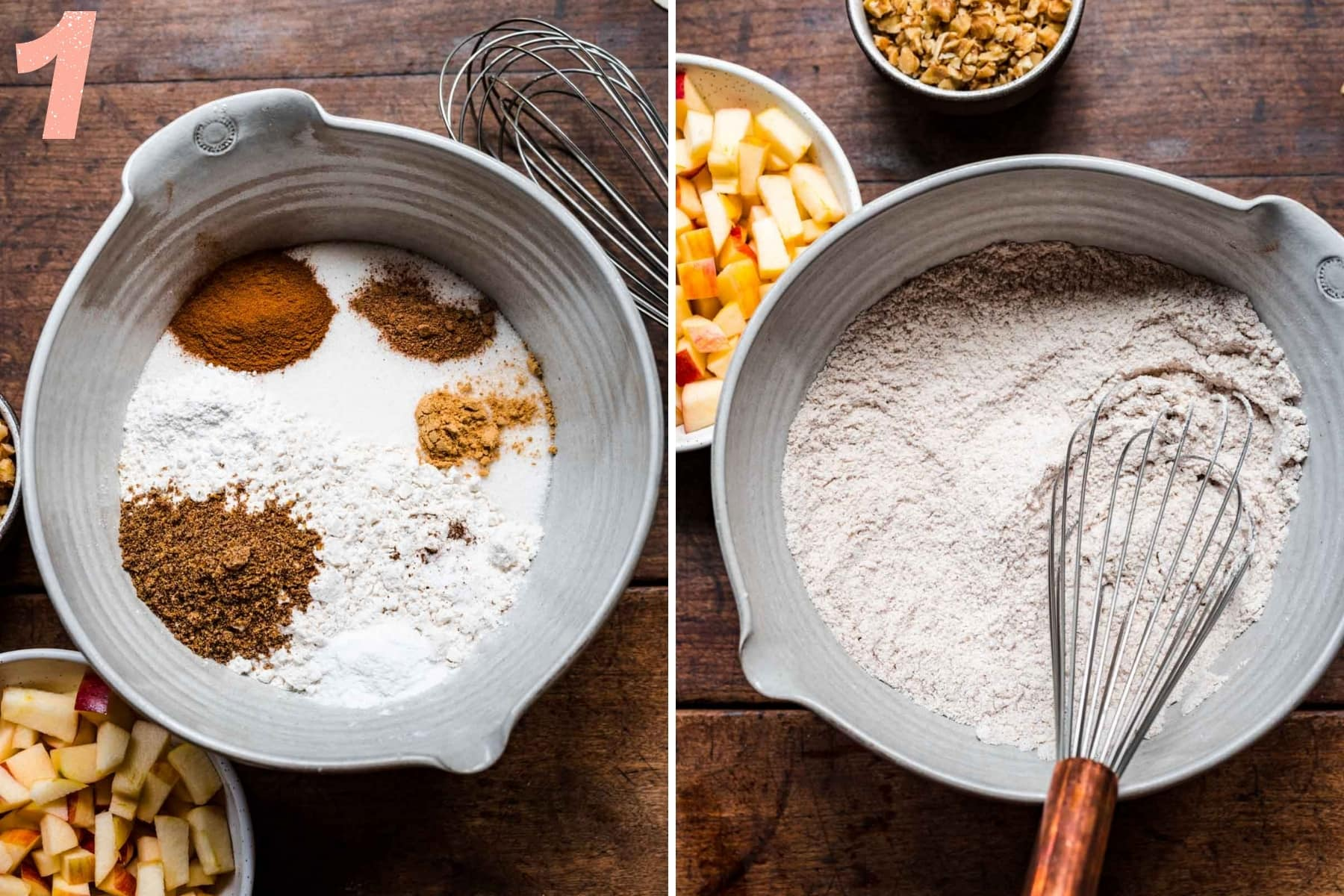 before and after mixing dry ingredients in mixing bowl for vegan apple cake.