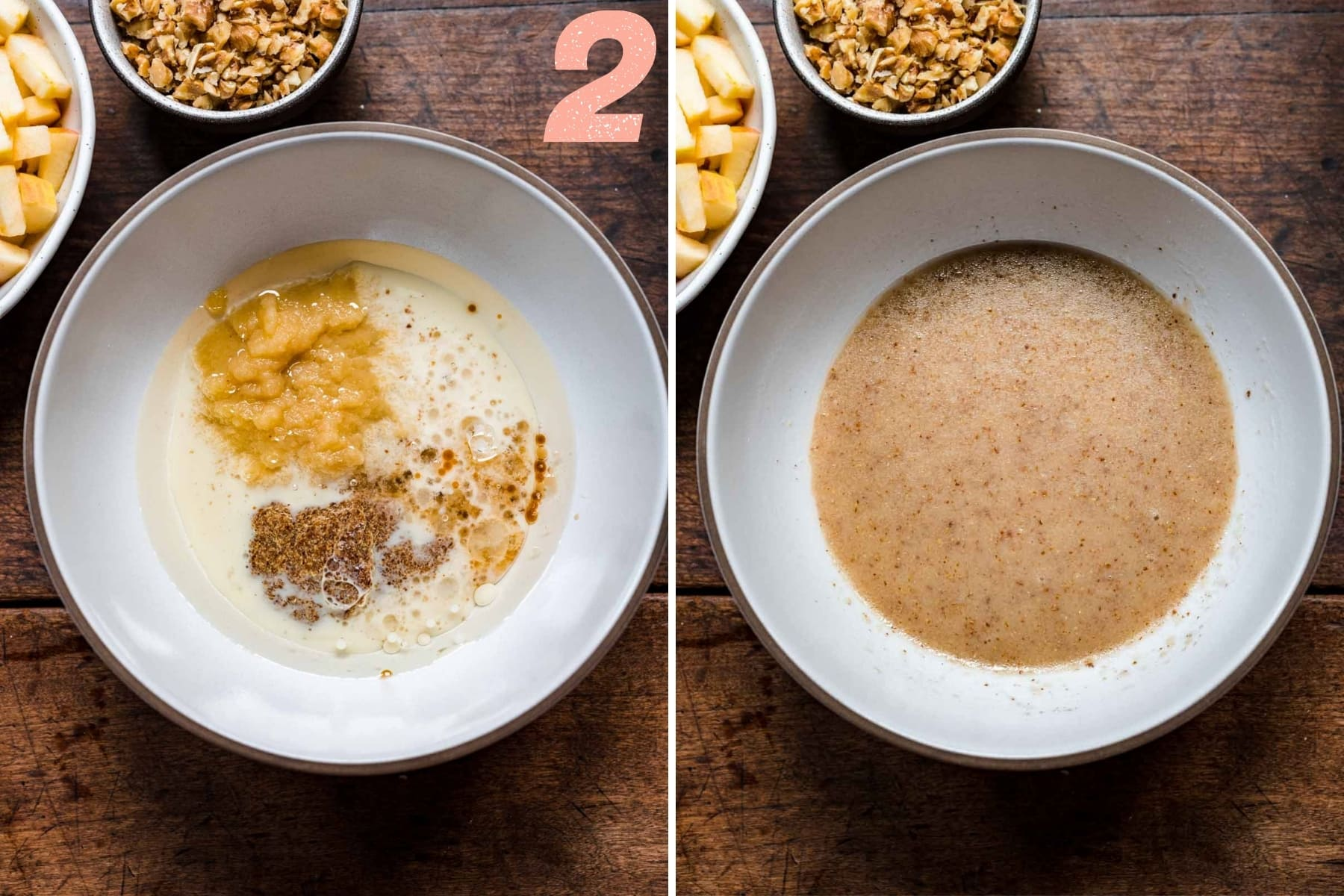before and after mixing wet ingredients in mixing bowl for vegan apple cake.