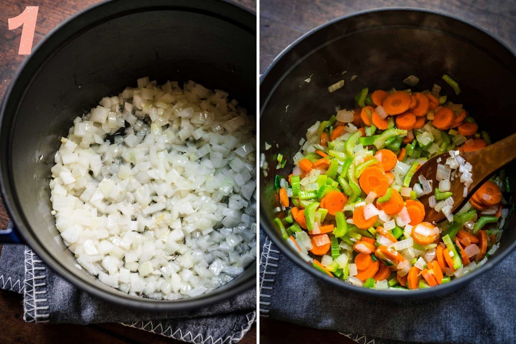 On the left: onions cooking in the pot. On the right: carrots and celery in the pot.