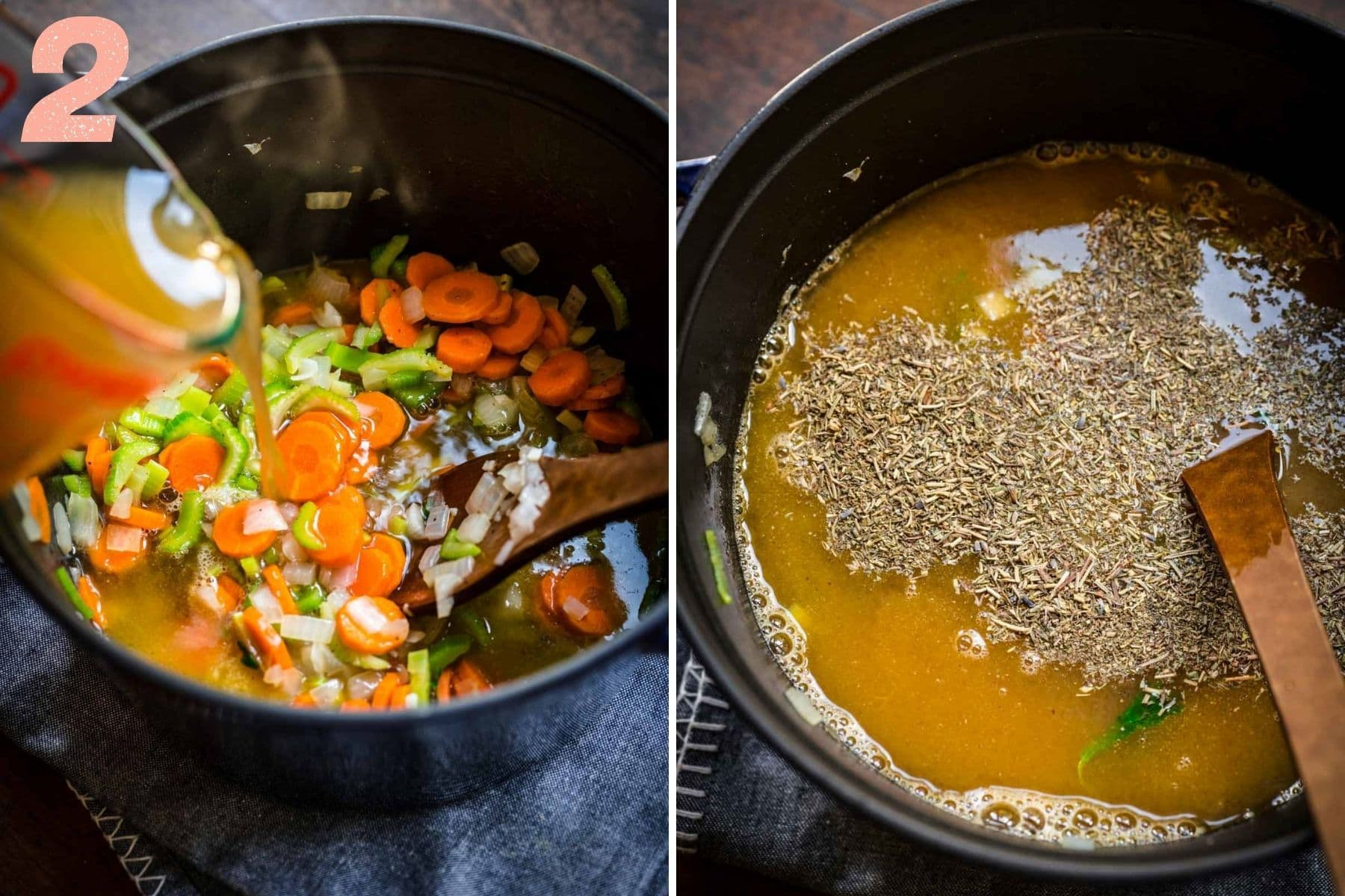 On the left: vegetable broth being added to the pot. On the right: herbes de provence added to soup.