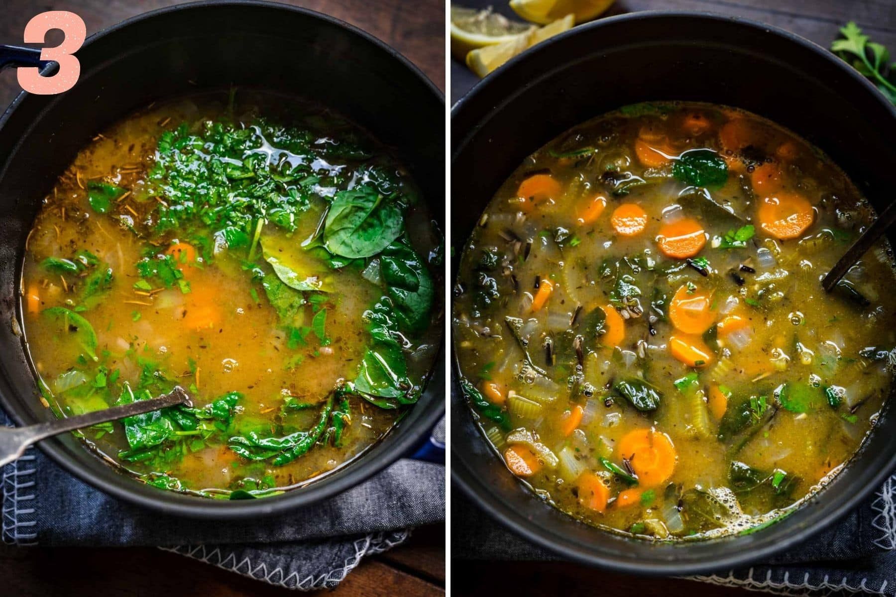 On the left: spinach and parsley added to pot. On the right: finished soup.