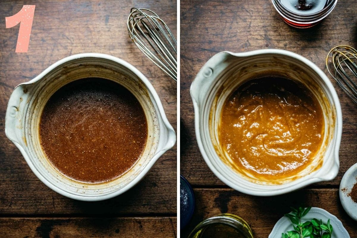 On the left: maple glaze before miso is whisked in. On the right: glaze after being whisked together with all ingredients.