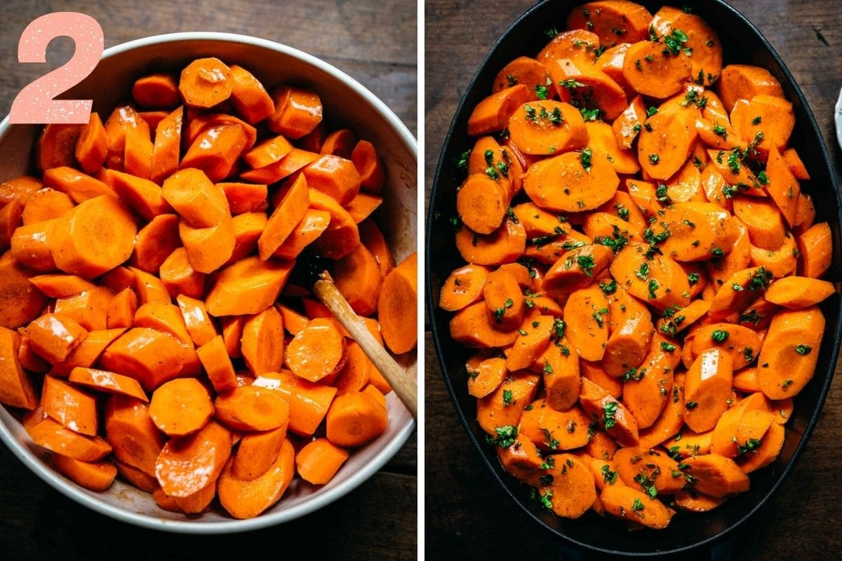 On the left: carrots being coated with glaze. On the right: carrots in a pan before roasting with fresh thyme sprinkled on top.