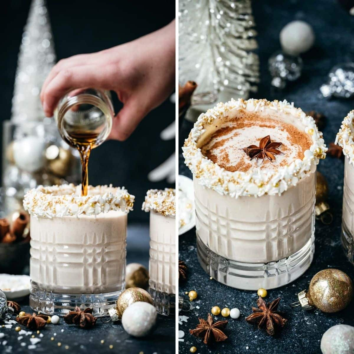 On the left: alcohol being added to eggnog. On the right: finished spiked eggnog.