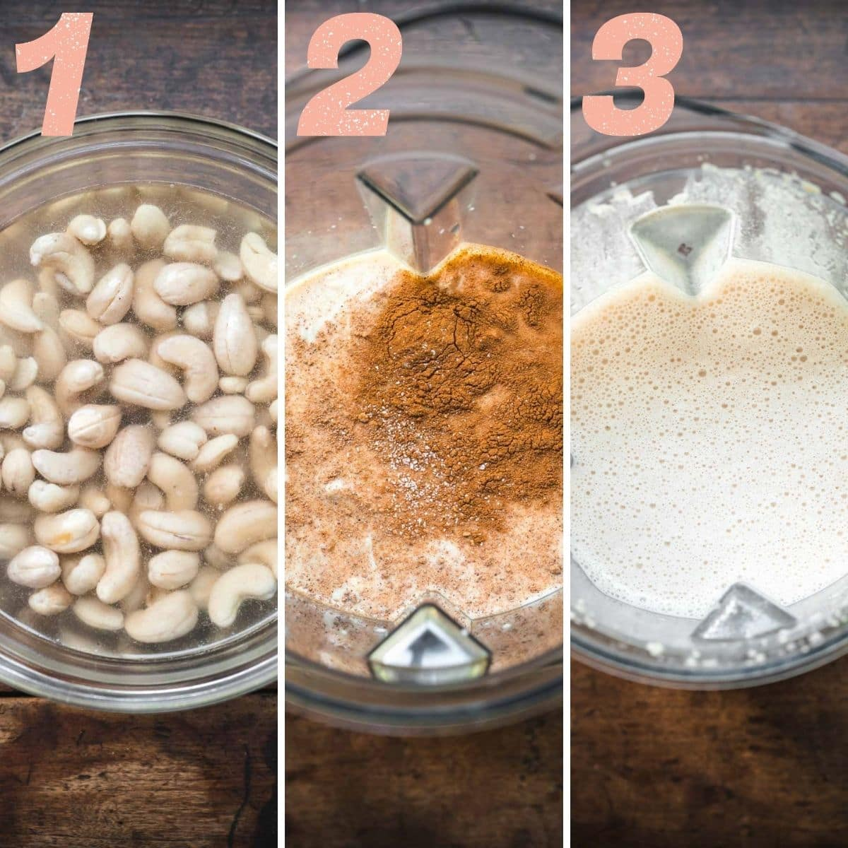 Three image panel of cashews soaking, spices being added, and then being blended.