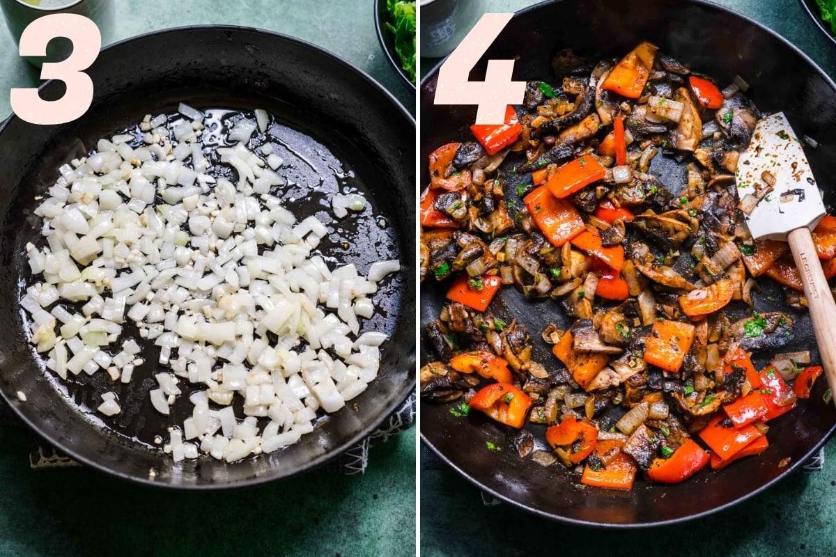 Sautéed onions and fajita vegetables in a skillet.