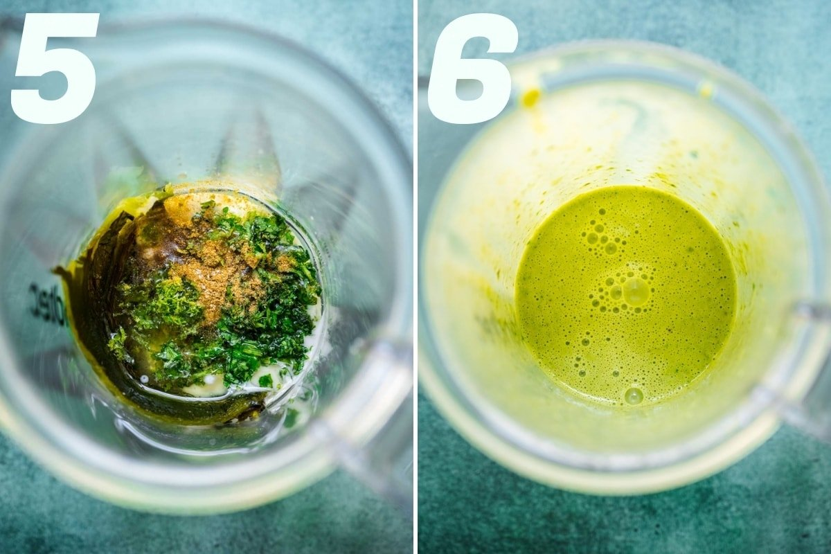 before and after blending ingredients for creamy poblano dressing.