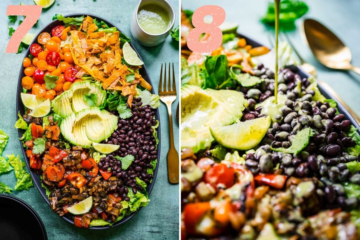 before and after adding poblano dressing to fajita vegetable salad.